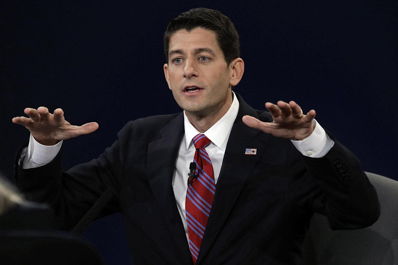 Republican vice presidential nominee Rep. Paul Ryan of Wisconsin answers a question during the vice presidential debate at Centre College, Thursday, Oct. 11, 2012, in Danville, Ky. (AP Photo/Charlie Neibergall)