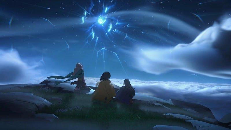 charactrers in everwild stare at a cloudy night