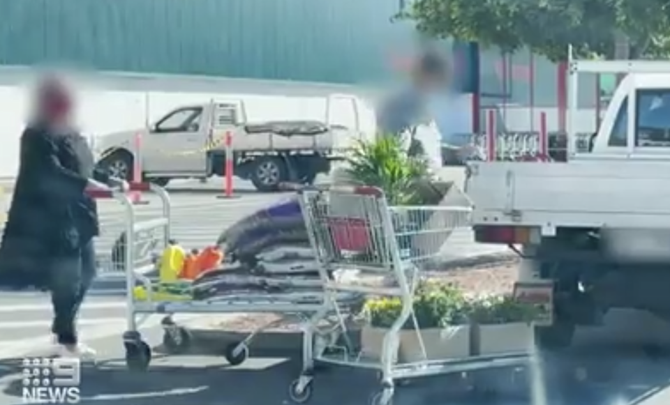 People were spotted shopping at Bunnings in Queensland. Source: Nine News