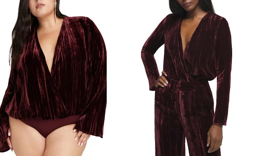 Good American Velvet Long Sleeve Wrap Bodysuit - Nordstrom. $47 (originally $119)