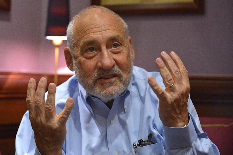 This photo from August 31, 2015 shows Nobel prize-winning US economist Joseph Stiglitz during an interview in Paris, France
