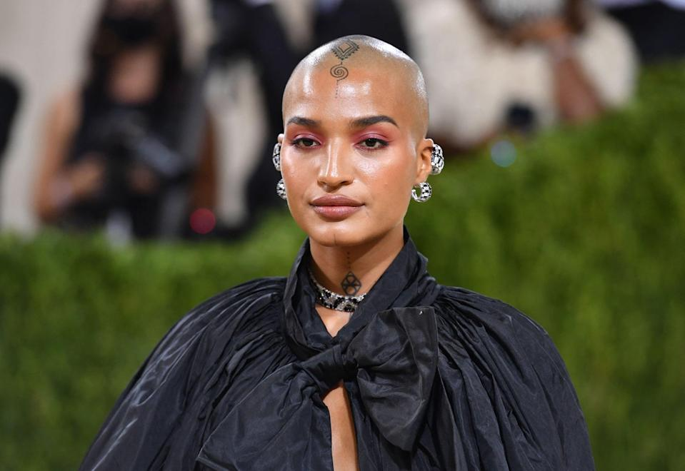 US actress  Indya Moore arrives for the 2021 Met Gala at the Metropolitan Museum of Art on September 13, 2021 in New York. - This year's Met Gala has a distinctively youthful imprint, hosted by singer Billie Eilish, actor Timothee Chalamet, poet Amanda Gorman and tennis star Naomi Osaka, none of them older than 25. The 2021 theme is