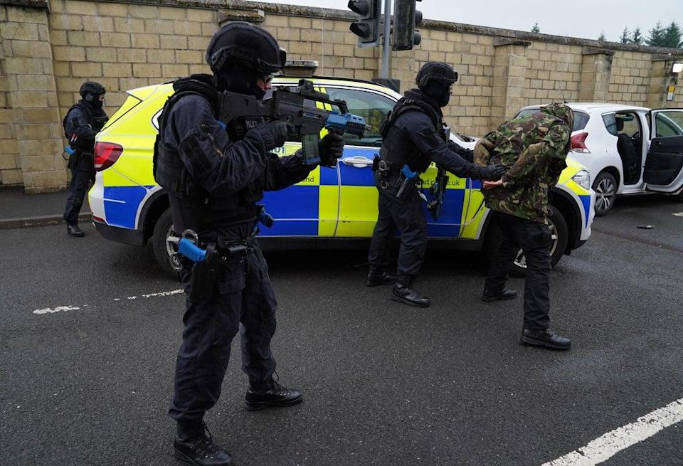 Police Scotland officers take part in a role-play exercise involving an armed policing response (Andrew Milligan/PA) (PA Wire)
