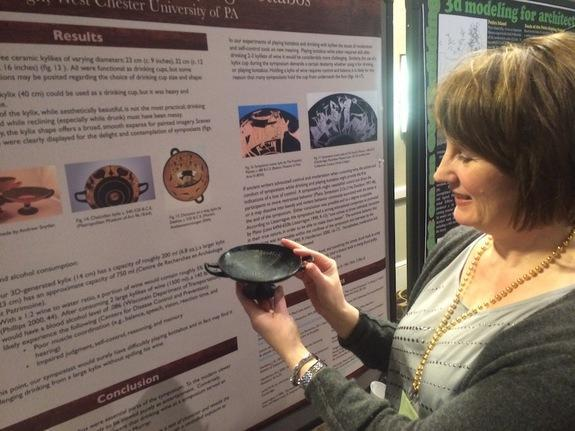 Heather Sharpe and her 3D-printed kylix.