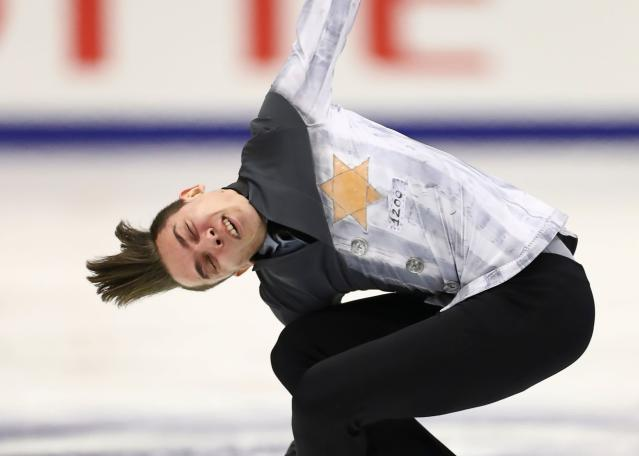 Russia's Anton Shulepov performed in a Auschwitz-themed costume in November, and the ISU claims it accidentally nominated that costume for an end-of-year award. (Photo by JUNKO KIMURA-MATSUMOTO/AFP via Getty Images)