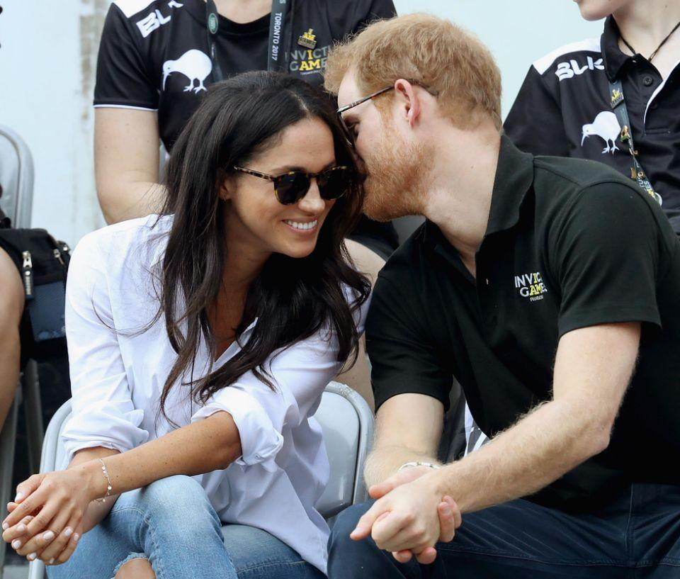 Harry and Meghan were affectionate at the 2017 Invictus Games in Toronto. Source: Getty