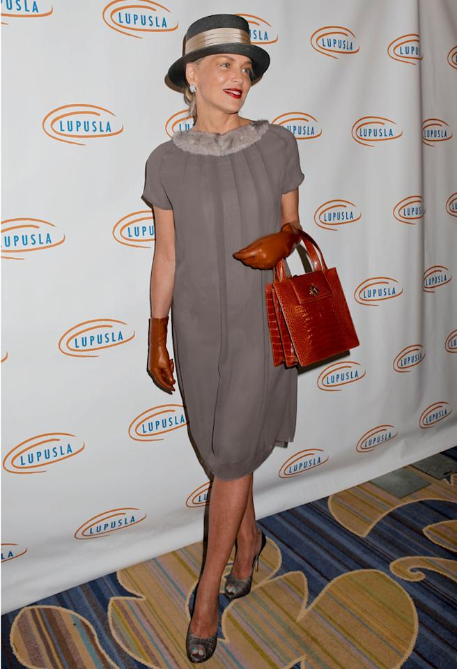 BEVERLY HILLS, CA - NOVEMBER 01:  Sharon Stone attends the 10th annual Lupus LA Hollywood Bag Ladies Event at the Beverly Wilshire Four Seasons Hotel on November 1, 2012 in Beverly Hills, California.  (Photo by Tibrina Hobson/WireImage)