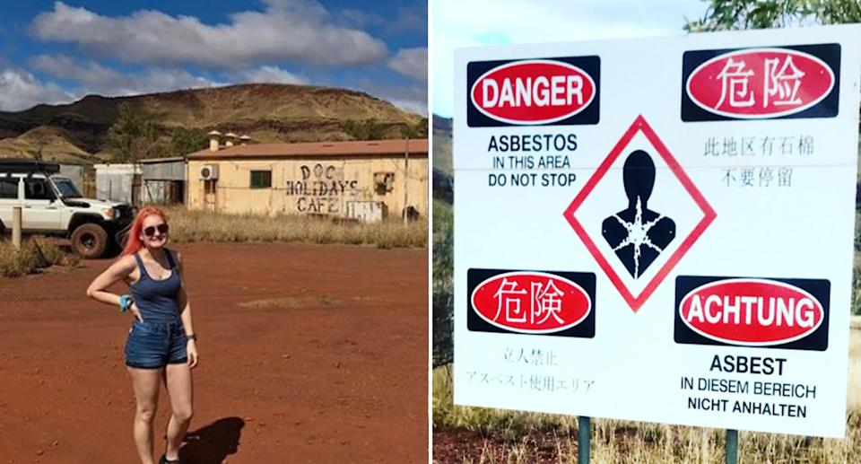 Pictured left is a woman posing in the West Australian town of Wittenoom. Right is a danger sign at the town.
