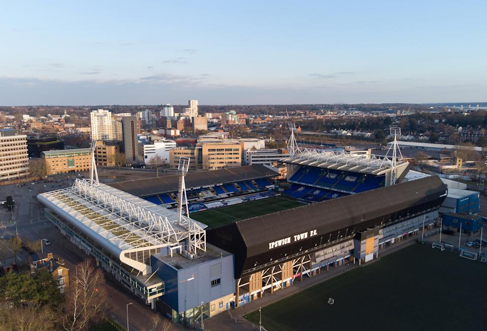 A general view of the stadium from above before the Sky Bet League One match at Portman Road, Ipswich. Picture date: Tuesday March 9, 2021.