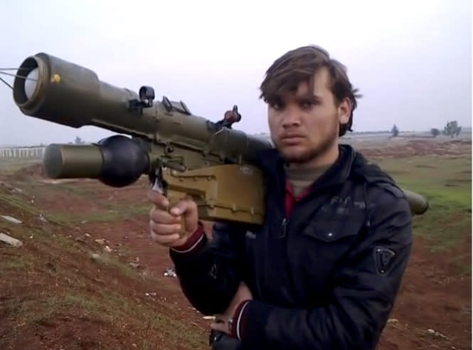 This undated photo obtained by The Associated Press from the Small Arms Survey, shows a man-portable air defense systems, or MANPADS. Armed groups in Syria have an estimated several hundred portable anti-aircraft missiles that could easily be diverted to extremists and used to destroy low-flying commercial planes, according to a new report by a respected international research group. It cites the risk that the missiles could be smuggled out of Syria by terrorists. (AP Photo/Small Arms Survey)