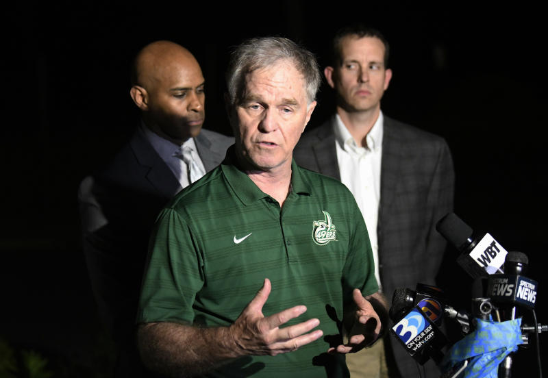 UNC Charlotte Police & Public Safety Chief Jeff Baker speaks to the media in the aftermath of the fatal shooting on the campus, Tuesday, April 30, 2019, in Charlotte, N.C. (David T. Foster III/The Charlotte Observer via AP)
