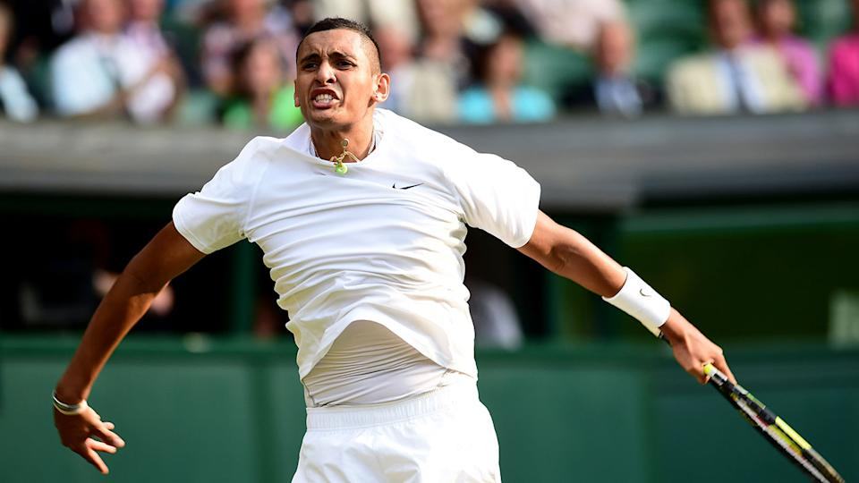 Seen here, Nick Kyrgios celebrates his Wimbledon victory over Rafael Nadal in 2014.