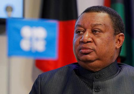 FILE PHOTO: OPEC Secretary-General Barkindo listens during a news conference in Vienna