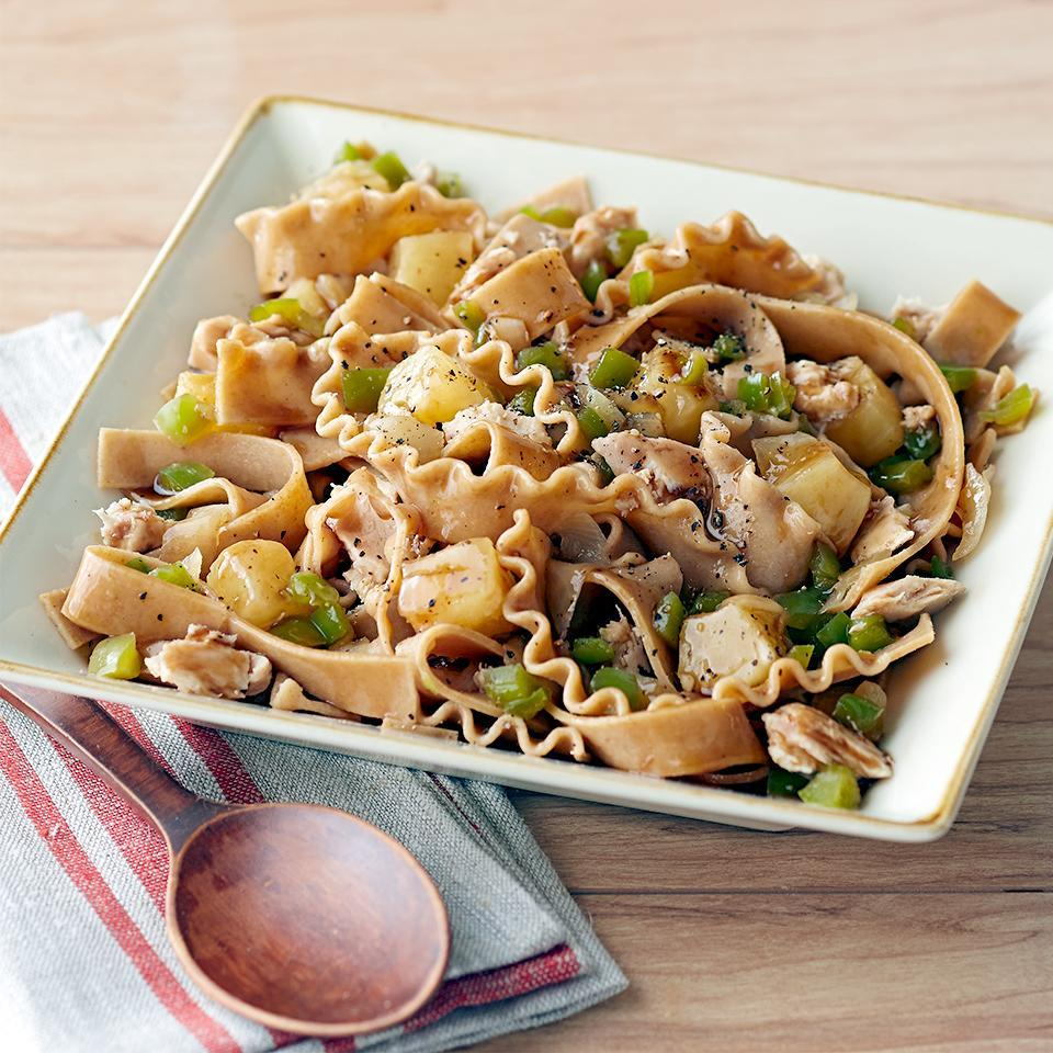 "<p>Because this Asian-inspired tuna and pasta dinner-for-four is ready in under 30 minutes, it's the perfect choice for any weeknight. <a href=""http://www.eatingwell.com/recipe/267454/honey-asian-tuna-pineapple-pasta/"" rel=""nofollow noopener"" target=""_blank"" data-ylk=""slk:View recipe"" class=""link rapid-noclick-resp""> View recipe </a></p>"