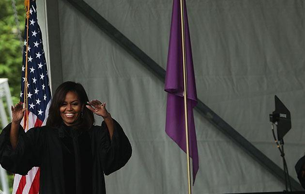 Michelle Obama giving her last Commencement Speech. Photo: Getty