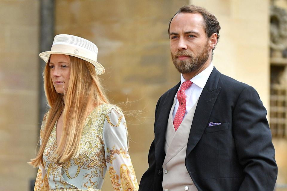 Alizee Thevenet and James Middleton attend the wedding of Lady Gabriella Windsor and Thomas Kingston at St George's Chapel