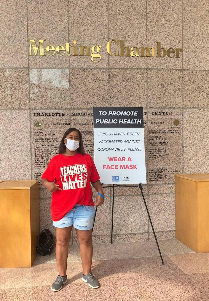 Former teacher Dawne Cornelius attended the Charlotte-Mecklenburg school meeting on Friday, July 30, 2021, in support of a mask-mandate.