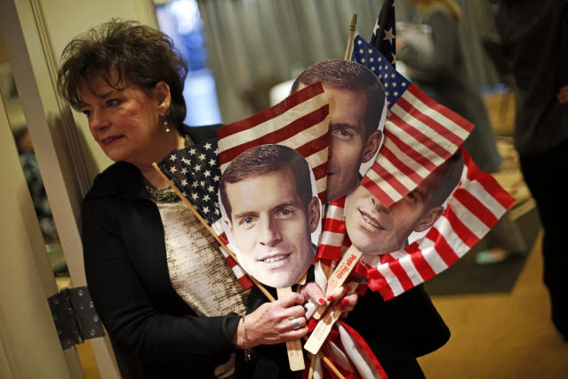 Conor Lamb supporter Judy Kramer of Bavington, Pa., arrives early for Lamb's election night party in Cecil, Pa., on March 13, 2018. Lamb claimed victory over Republican Rick Saccone in a special election in Pennsylvania's 18th U.S. Congressional District. (Photo: Gene J. Puskar/AP)