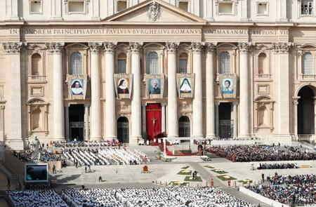 Pope Francis leads a Mass for the canonisation of five persons at the Vatican