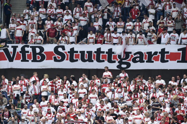 Soccer Football - Hannover 96 v VfB Stuttgart - 2. Bundesliga - HDI-Arena, Hannover, Germany - 14/5/17 Stuttgart fans Reuters / Fabian Bimmer Livepic DFL RULES TO LIMIT THE ONLINE USAGE DURING MATCH TIME TO 15 PICTURES PER GAME. IMAGE SEQUENCES TO SIMULATE VIDEO IS NOT ALLOWED AT ANY TIME. FOR FURTHER QUERIES PLEASE CONTACT DFL DIRECTLY AT + 49 69 650050.