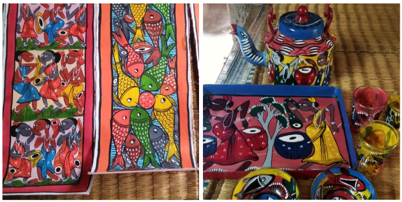 The dyes used on the scrolls are hand-made by the artists using organic materials; household goods and fabrics are painted with sourced, water-resistant colours.