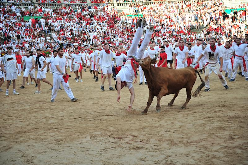 A heifer from a Cebada Gago ranch flips a reveller in the bull ring during the San Fermín Festival: The Running of the Bulls, or Encierro, at Pamplona.