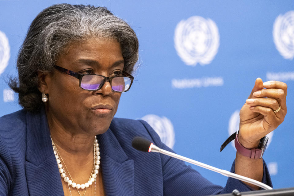 U.S. Ambassador to the United Nations, Linda Thomas-Greenfield speaks to reporters during a news conference, Monday, March 1, 2021, at United Nations headquarters. (AP Photo/Mary Altaffer)