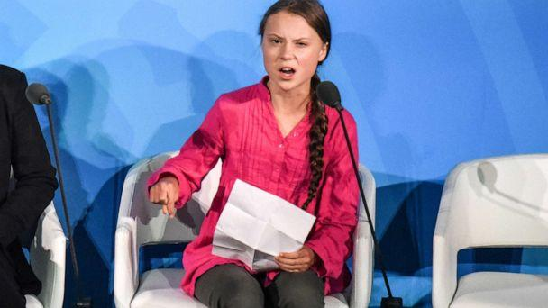 PHOTO: Greta Thunberg speaks at the Climate Action Summit at the United Nations, Sept. 23, 2019, in New York. (Stephanie Keith/Getty Images)