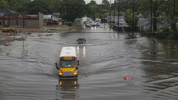 PHOTO: HOUSTON, TX - SEPTEMBER 19: A school bus makes its way on the flooded Hopper Rd. on September 19, 2019 in Houston, Texas.  (Thomas B. Shea/Getty Images)