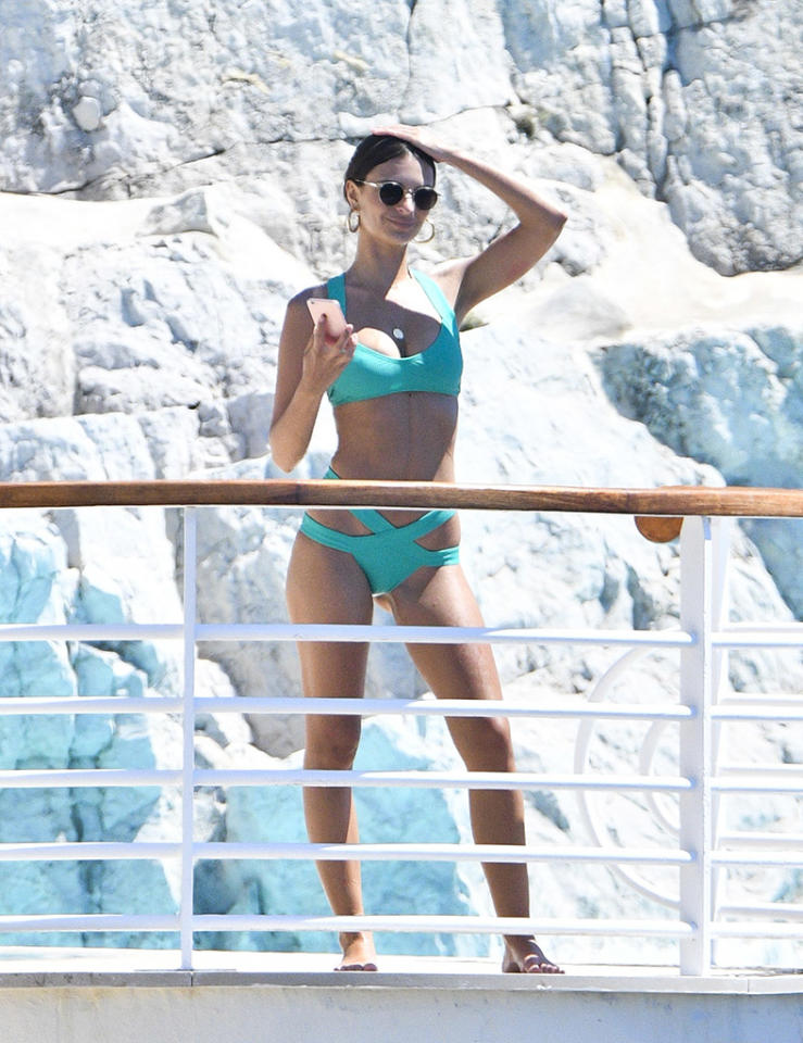 <p>The <em>Gone Girl</em> actress loves a bikini, and surely turned heads in her blue two-piece while sunning herself at Hotel du Cap-Eden-Roc this week. (Photo: Splash News) </p>