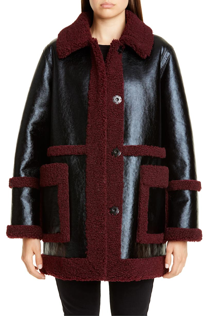 Stand Studio Haley Colorblock Faux Shearling Coat