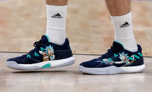 Basketball - EuroLeague Final Four Semi Final A - CSKA Moscow vs Real Madrid - ?Stark Arena?, Belgrade, Serbia - May 18, 2018 General view of the shoes of Real Madrid's Fabien Causeur during the warm up before the match REUTERS/Alkis Konstantinidis