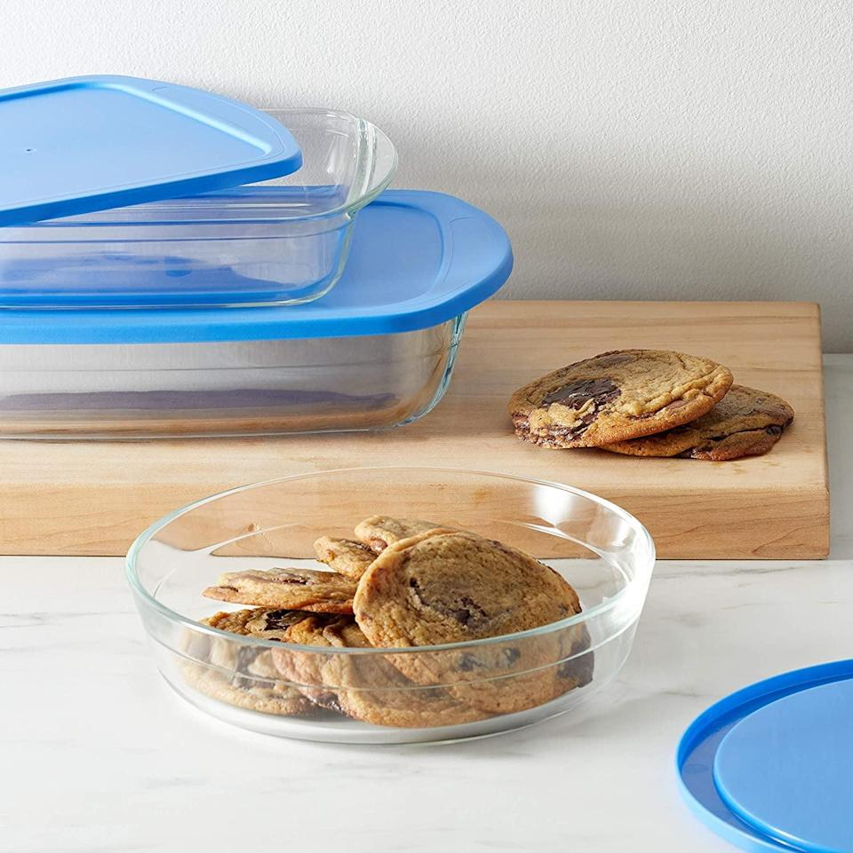 <p>Whether you love to bake or need storage for leftovers, the <span>Amazon Basics Oven Safe Glass Baking and Food Storage Dish Set </span> ($20, originally $26) is a kitchen must-have. The set of three comes with one rectangle, one square, and one round shaped container for all your food needs. </p>