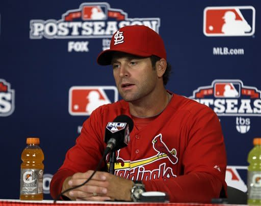 St. Louis Cardinals manager Mike Matheny speaks during a news conference, Saturday, Oct. 6, 2012, in St. Louis. The Cardinals and the Washington Nationals are scheduled to play Game 1 in the National League division series on Sunday. (AP Photo/Jeff Roberson)