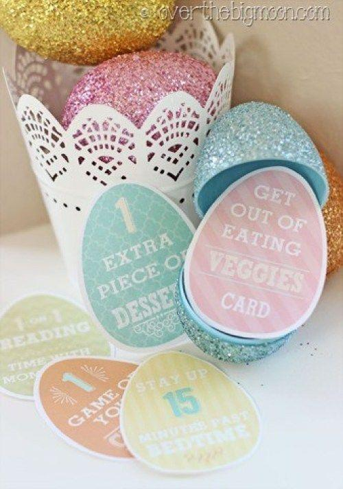 """<p>Instead of candy, sneak """"privilege cards"""" into each egg that your children can redeem for something else equally sweet to candy—like getting extra dessert one night.</p><p><strong>Get the tutorial at <a href=""""https://overthebigmoon.com/easter-egg-privilege-cards/"""" rel=""""nofollow noopener"""" target=""""_blank"""" data-ylk=""""slk:Over the Big Moon"""" class=""""link rapid-noclick-resp"""">Over the Big Moon</a>.</strong></p><p><strong><a class=""""link rapid-noclick-resp"""" href=""""https://www.amazon.com/Neenah-Cardstock-Heavy-Weight-Brightness-91437/dp/B07D4YF3K4/?tag=syn-yahoo-20&ascsubtag=%5Bartid%7C10050.g.4083%5Bsrc%7Cyahoo-us"""" rel=""""nofollow noopener"""" target=""""_blank"""" data-ylk=""""slk:SHOP CARD STOCK"""">SHOP CARD STOCK</a><br></strong></p>"""