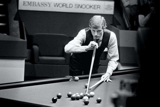 Steve Davis seen in action during the final of the 1985 Embassy World Snooker Championship