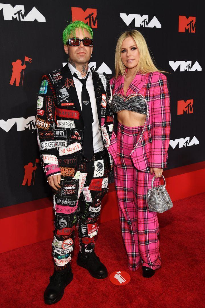 Avril Lavigne and Mod Sun arrive on the red carpet for the 2021 MTV Video Music Awards in New York, Sept. 12. - Credit: Courtesy of MTV