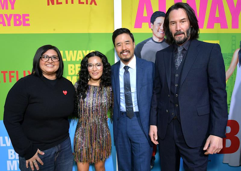 WESTWOOD, CALIFORNIA - MAY 22: Nahnatchka Khan, Ali Wong, Randall Park and Keanu Reeves attend the world premiere of Netflix's 'Always Be My Maybe' at Regency Village Theatre on May 22, 2019 in Westwood, California. (Photo by Emma McIntyre/Getty Images for Netflix)