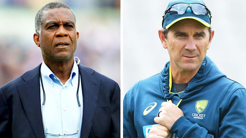 Justin Langer (pictured right) during training and Michael Holding (pictured left) during commentary.