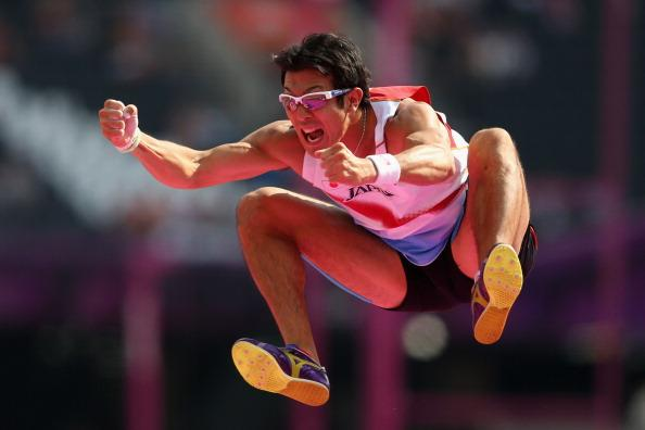 Keisuke Ushiro of Japan reacts after competing in the Men's Decathlon Pole Vault on Day 13 of the London 2012 Olympic Games at Olympic Stadium on August 9, 2012 in London, England. (Photo by Feng Li/Getty Images)