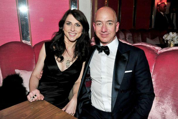 Jeff Bezos and his wife Mac Kenzie Bezos attend the Amazon Studios Oscar Celebration Feb. 26 2017 in West Hollywood Calif