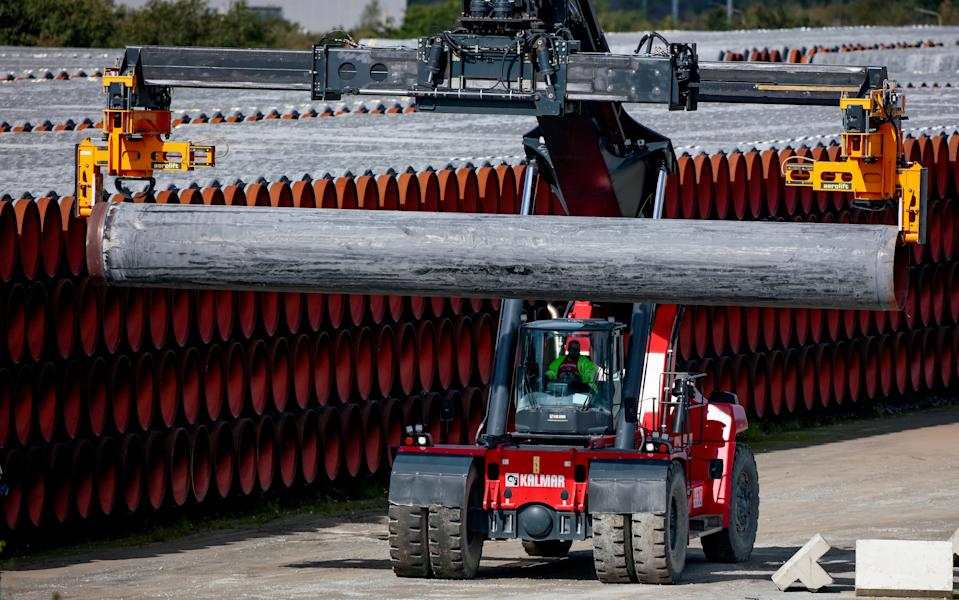 Pipes for the Nord Stream 2 Baltic Sea pipeline are stored on a site at the port of Mukran in Sassnitz, Germany. Photo: Hannibal Hanschke/Reuters