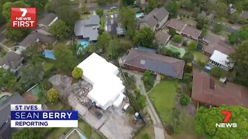 From the sky, the white shape indicates a house marked for demolition. Source: 7 News