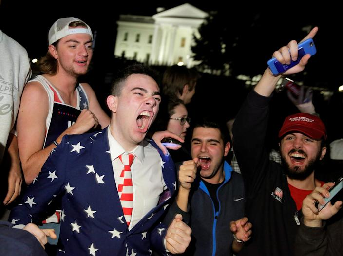 <p>Supporters of Republican presidential nominee Donald Trump rally in front of the White House in Washington, Nov. 8, 2016. (Photo: Joshua Roberts/Reuters) </p>