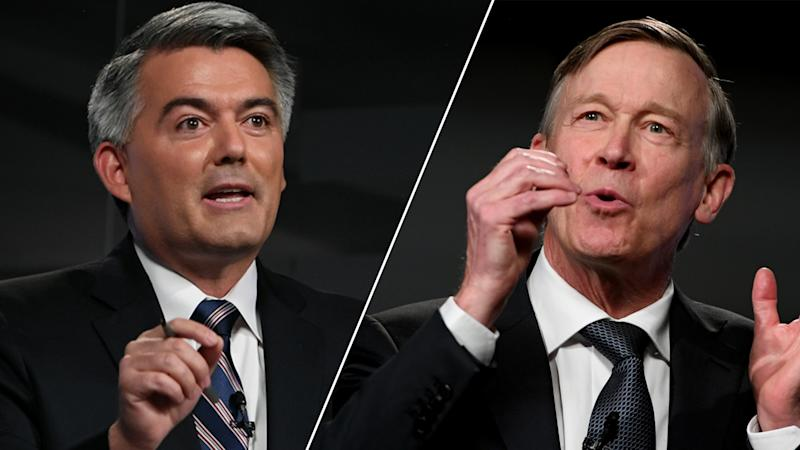 U.S. Sen. Cory Gardner/Democratic former Colorado Gov. John Hickenlooper (Hyoung Chang/MediaNews Group/The Denver Post via Getty Images (2))