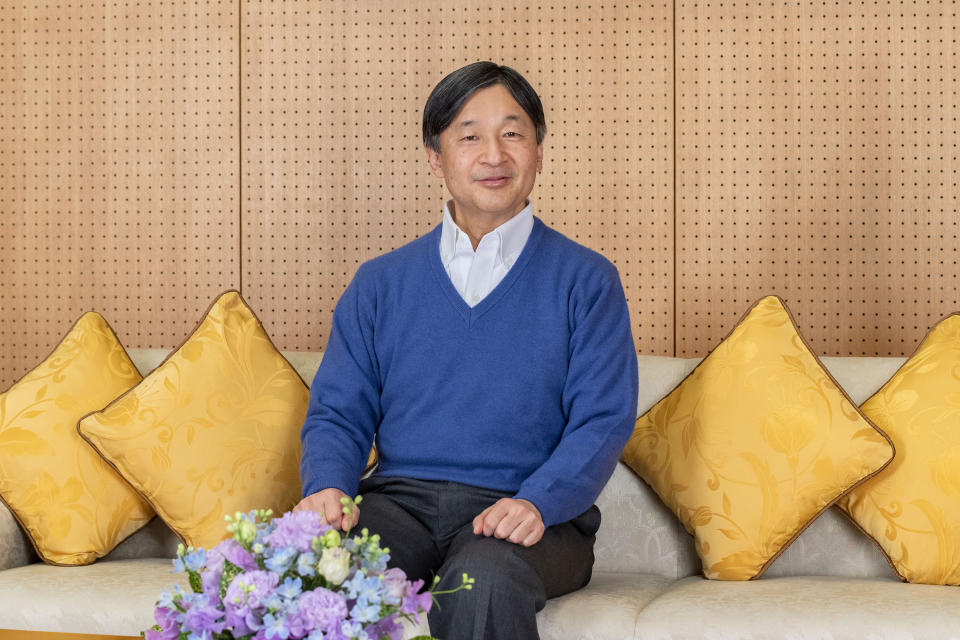 In this photo provided on Feb. 18, 2021, by the Imperial Household Agency of Japan, Japan's Emperor Naruhito poses at Akasaka Palace in Tokyo on Feb. 2, 2021. Naruhito celebrated 61st birthday on Tuesday, Feb. 23, 2021. (The Imperial Household Agency of Japan via AP)