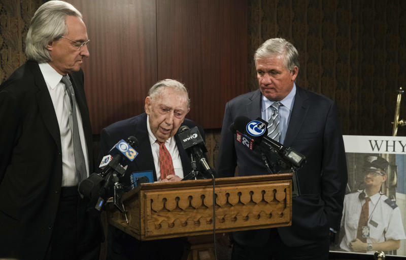 Attorneys Thomas Kline left Richard Sprague and Robert Mongeluzzi take part in a news conference while standing next to