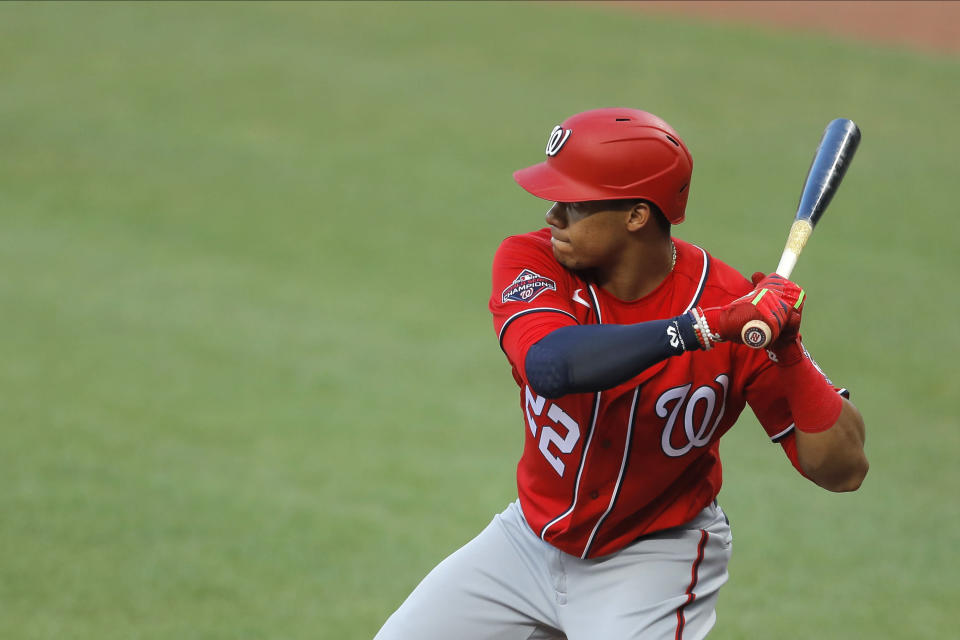 The Washington Nationals' Juan Soto will sit out the season's first game against the Yankees. (AP Photo/Julio Cortez)