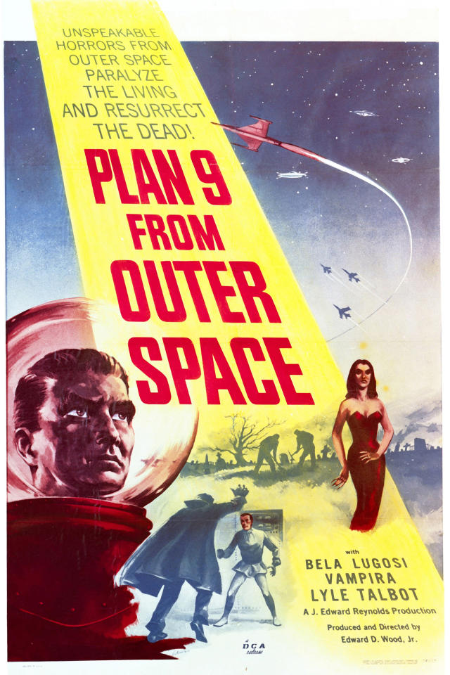 A poster for Edward D. Wood, Jr.'s 1959 science fiction film 'Plan 9 From Outer Space'. The film starred Gregory Walcott, Mona McKinnon, Tor Johnson, Bela Lugosi and Vampira. (Photo by Silver Screen Collection/Getty Images)