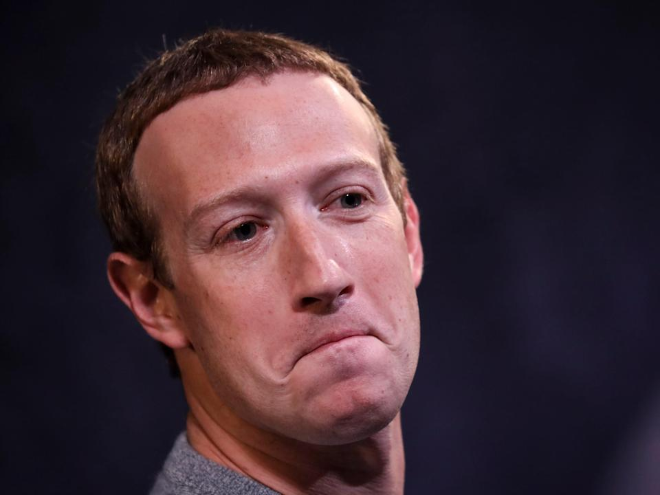 Close-up shot of Mark Zuckerberg with a frown.